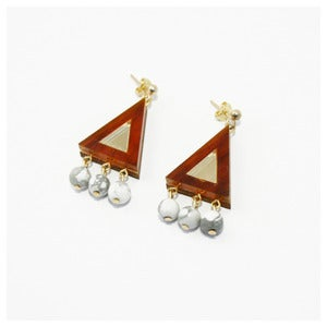 Image of Beaded Triangle Earrings - Tortoiseshell