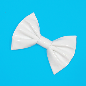 Image of Medium White PVC Hair Bow