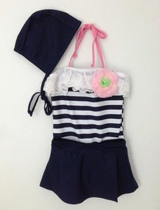 Image of Striped Swimsuit Set