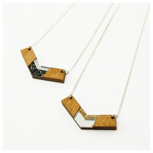 Image of Inlaid Chevron Necklace - Wood