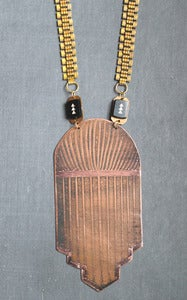Image of metropolis deco copper necklace