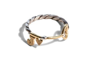 Image of Personalised Key Styled Ring with Heart