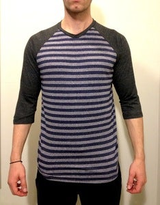 3/4 Raglan Sleeve Blue &amp; Grey Stripes
