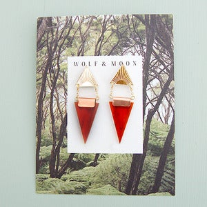 Image of Double Triangle Earrings in Rust and Gold by Wolf and Moon