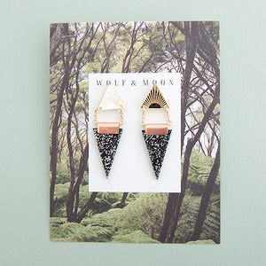 Image of Double Triangle Earrings in Black Glitter and Gold by Wolf and Moon