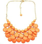 Image of Teardrop Bib Necklace + Earrings: Coral/Orange