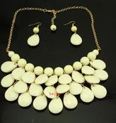 Image of Teardrop Bib Necklace + Earrings: Beige