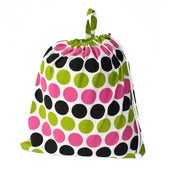 Image of Extra Large Laundry Bag for Dorm and Travel : Hot Pink Lime and Black Dots
