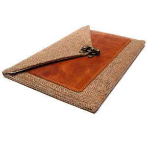 Image of iPad Mini case in brown herringbone tweed