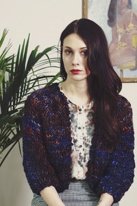 Image of perth merino wool hand knit cardigan (shown in Bright Night)