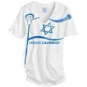 Image of Israel Lacrosse women's white V-neck t-shirt