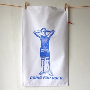 Image of Going For Gold tea towel - blue