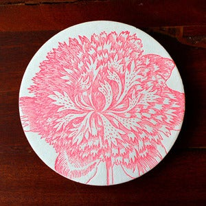 Image of Letterpress Fluorescent Pink Flower Coasters