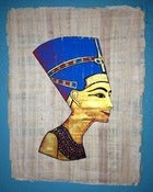 Image of Nefertiti Painting on Papyrus Paper