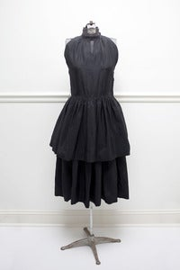 Image of Jonathan Logan Black Taffeta Tiered Dress