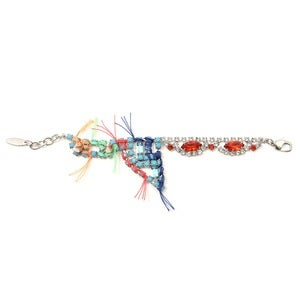 Image of Split Personality Crystal Bracelet W/Threads - Turquoise/Orange