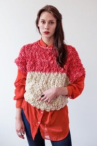 Image of welland merino wool sweater (shown in color blocked coral & natural)