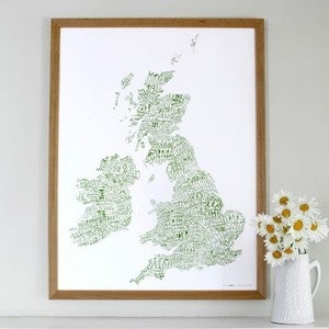 Image of Word Map of the British Isles (Colours)