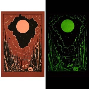 "Image of ""The dead forest"" 3 color glow in the dark screenprint"