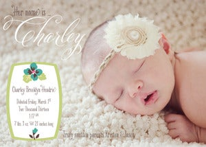 Image of Hawaiian Flower Baby Announcement with Photo