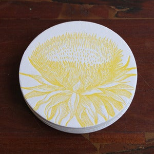 Image of Letterpress Yellow Thistle Coasters