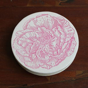 Image of Letterpress Dark Pink Rose Coasters
