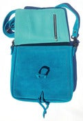 Image of No.90009 mini messenger bag. cyan suede