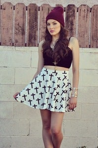 Image of Cross it Skater Skirt