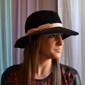 Image of Black wide brim winter hat 2 ($280)
