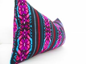 Image of Aztec Pillow, Mexican Pillow, Tribal Purple and Black Lumbar Pillow Cover