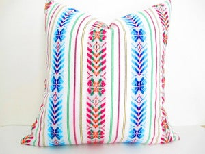 Image of Long Bolster Pillow, Colorful Pillow, Bohemian Decor, Boho Bedding, Tribal Pillow, Mexican