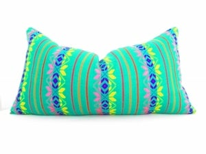 Image of Tribal Pillows. Aztec. Bright Green Decorative Pillow, Purple, Orange Bohemian Cushions