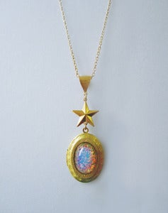 Image of Interstellar Burst Fire Opal Locket Necklace
