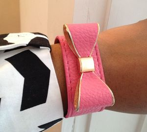 Image of Pink Vegan Leather Bow Bracelet