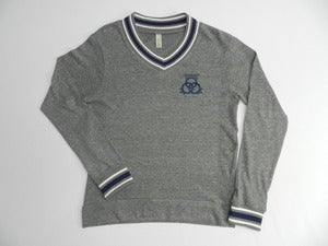Image of Grey/ Ivory/ True Navy Cashmere V-Neck Sweatshirt