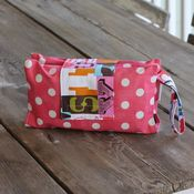 Image of diaper clutch - coral pink dots