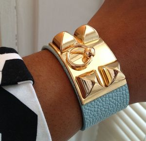 Image of Light Blue Pyramid Vegan Leather Bracelet