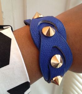 Image of Navy Vegan Leather Spiked Bracelet