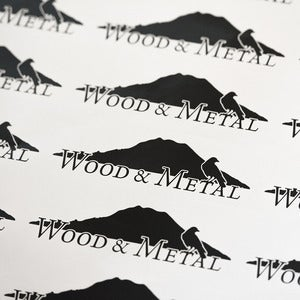 Image of Wood and Metal Logo Stickers