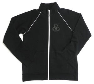 Image of Black Jacket White Piping Black Matte Logo