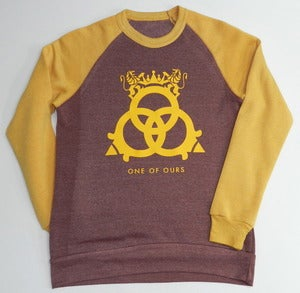 Image of Colorblocked Crewneck Sweatshirt True Burgundy True Gold