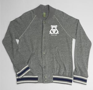 Image of Cashmere Baseball Jacket Grey/ Ivory/ True Navy