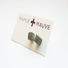 Image of Square Concrete Earring Stud by Maple + Mauve 