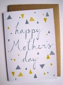 Image of HAPPY MOTHER'S DAY card in slate and mustard