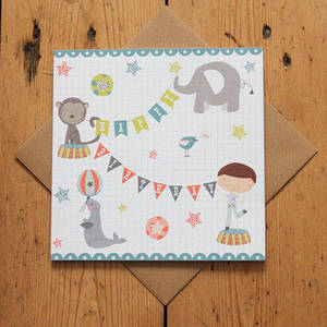 Image of Carnival Kids - Boy's Circus Birthday Card