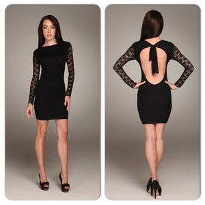 Image of Honor Gold Black Lace Paige Dress Blackless Tie Back