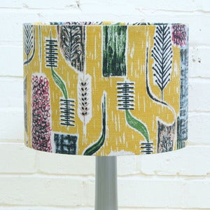 Image of Lampshade in Vintage Hyacinth Barkcloth