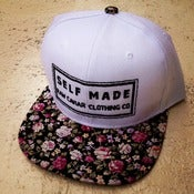 Image of White with mini rose bud floral brim Raw Caviar Snapback
