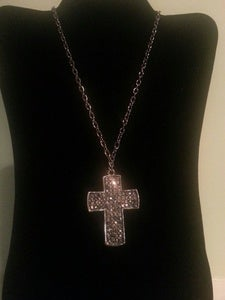 Image of Pewter Rhinestone Cross Necklace
