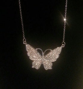 Image of Rhinestone Butterfly Necklace